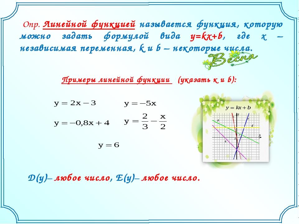 Опр. Линейной функцией называется функция, которую можно задать формулой вид...
