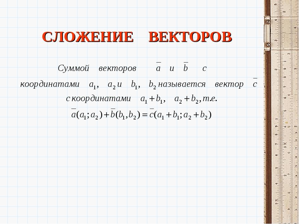 СЛОЖЕНИЕ ВЕКТОРОВ