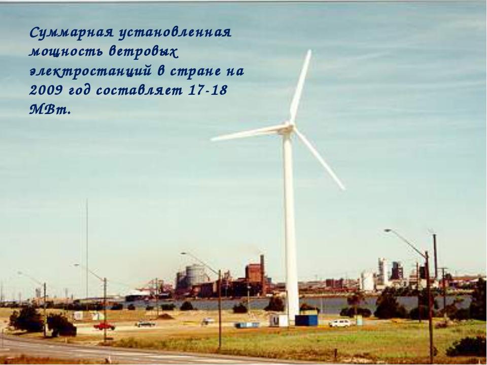 Суммарная установленная мощность ветровых электростанций в стране на 2009 год...