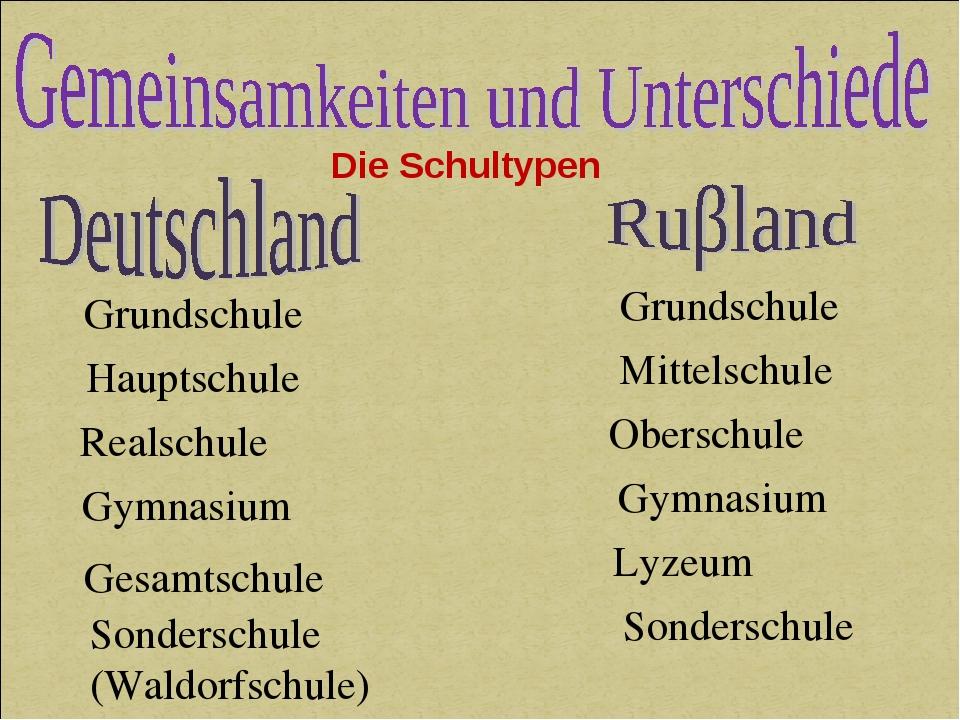 Grundschule Hauptschule Realschule Gymnasium Gesamtschule Sonderschule (Waldo...