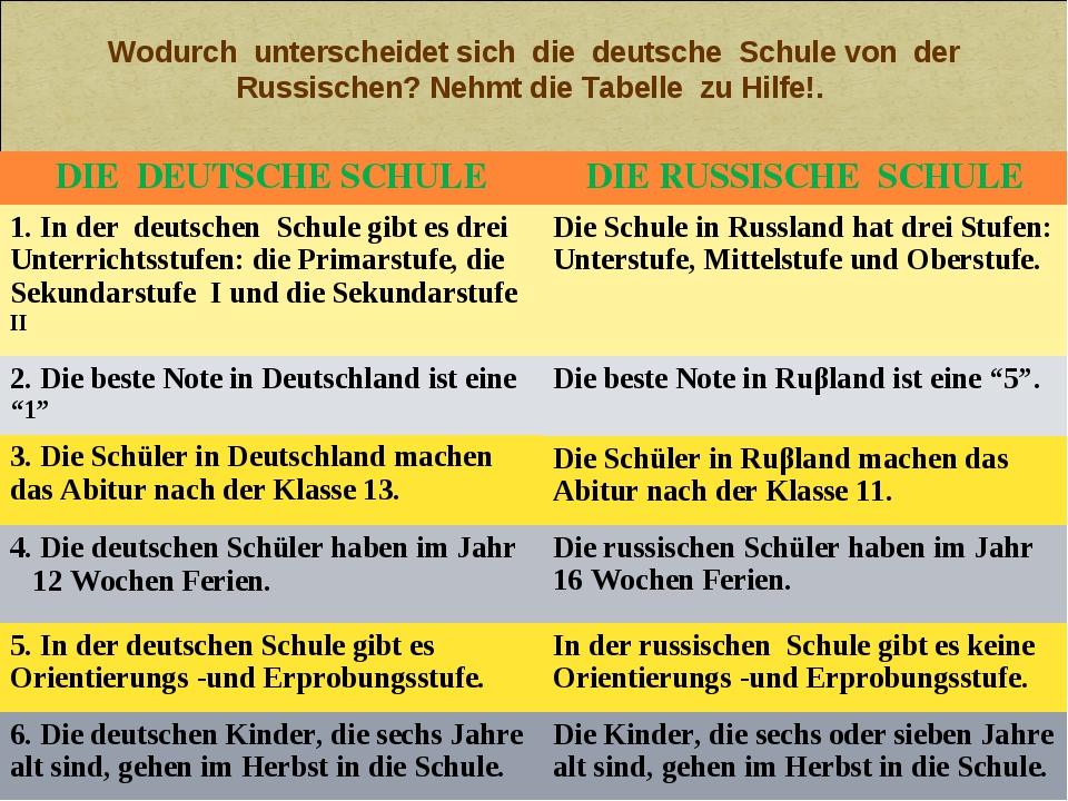 Wodurch unterscheidet sich die deutsche Schule von der Russischen? Nehmt die...