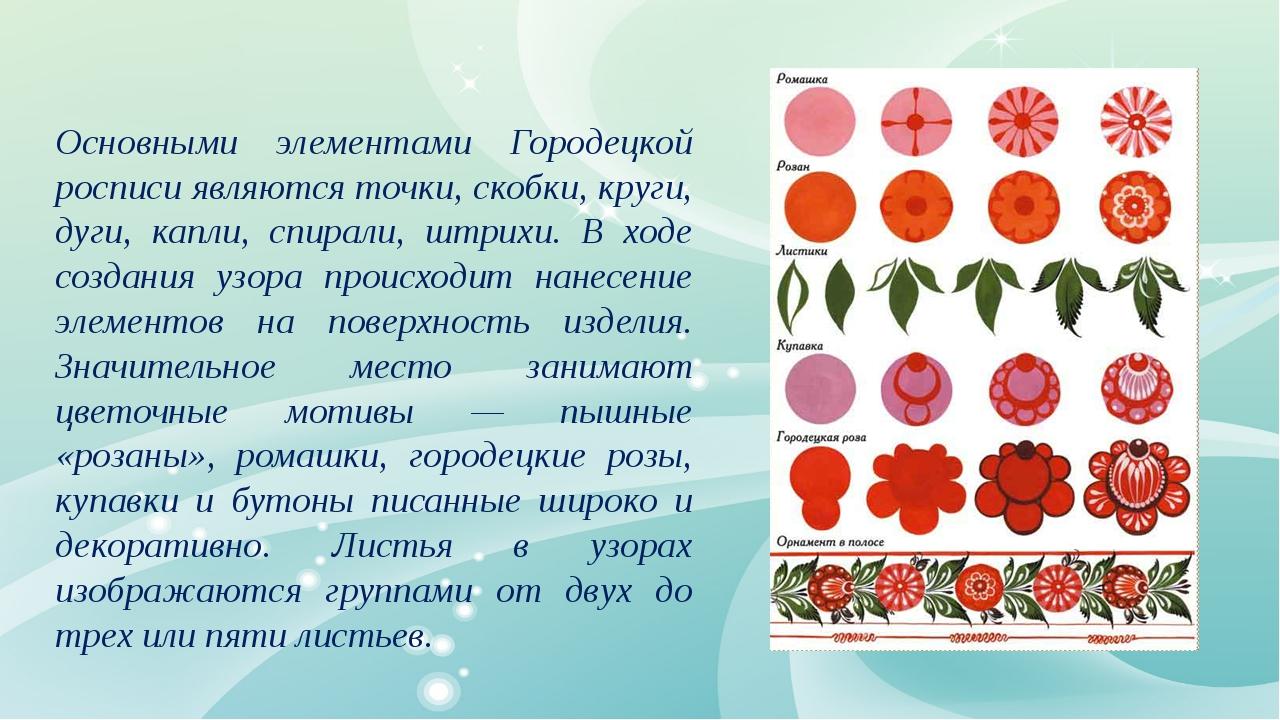 Основными элементами Городецкой росписи являются точки, скобки, круги, дуги,...