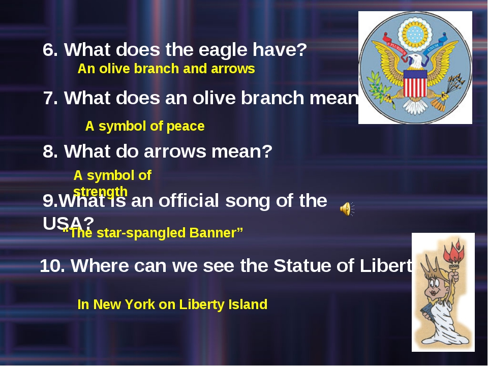 6. What does the eagle have? 7. What does an olive branch mean? 8. What do ar...