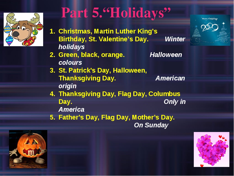 "Part 5.""Holidays"" Christmas, Martin Luther King's Birthday, St. Valentine's D..."