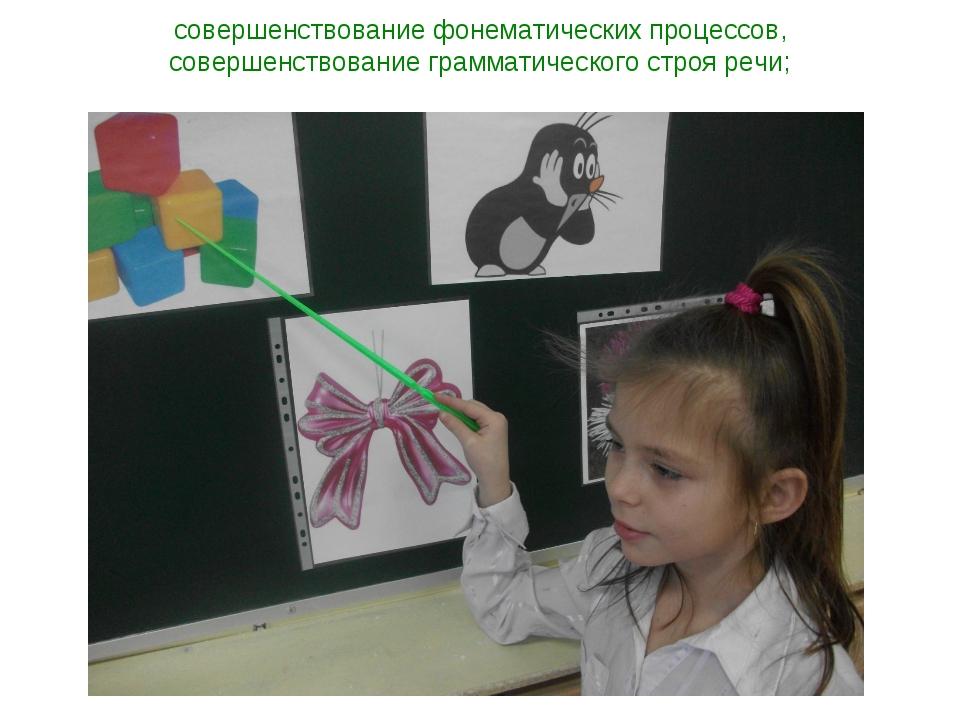 совершенствование фонематических процессов, совершенствование грамматического...