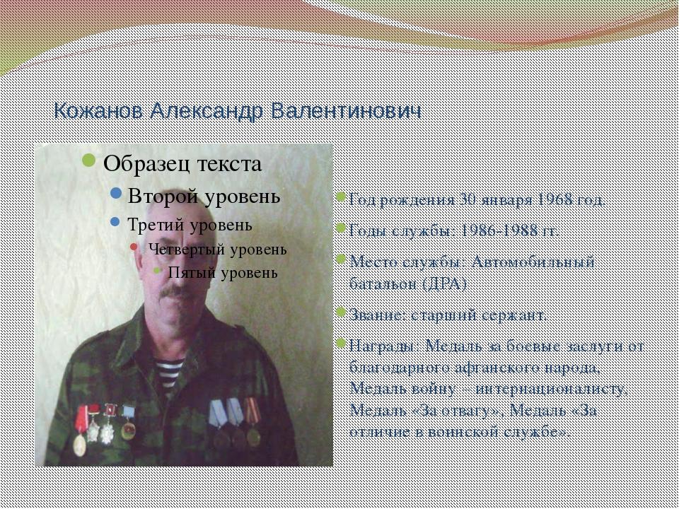Кожанов Александр Валентинович Год рождения 30 января 1968 год. Годы службы:...
