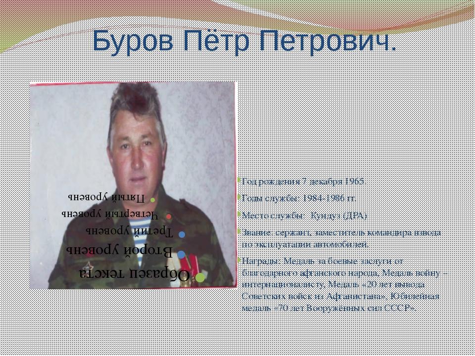 Буров Пётр Петрович. Год рождения 7 декабря 1965. Годы службы: 1984-1986 гг....