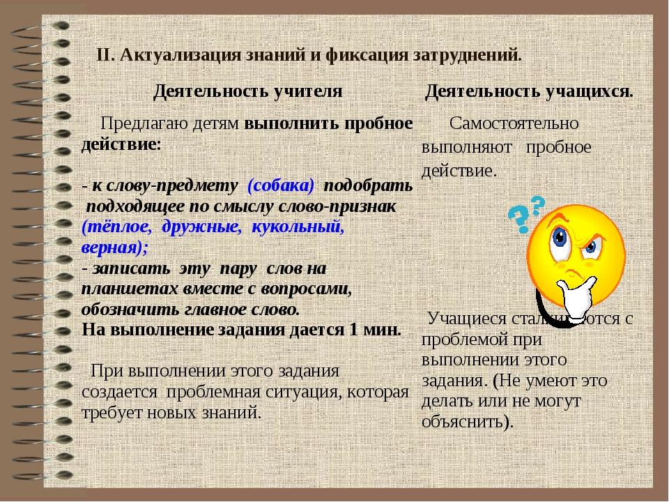 II. Актуализация знаний и фиксация затруднений. Деятельность учителяДеятельн...