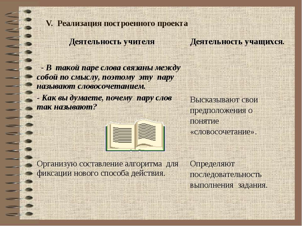 V. Реализация построенного проекта Деятельность учителяДеятельность учащихся...