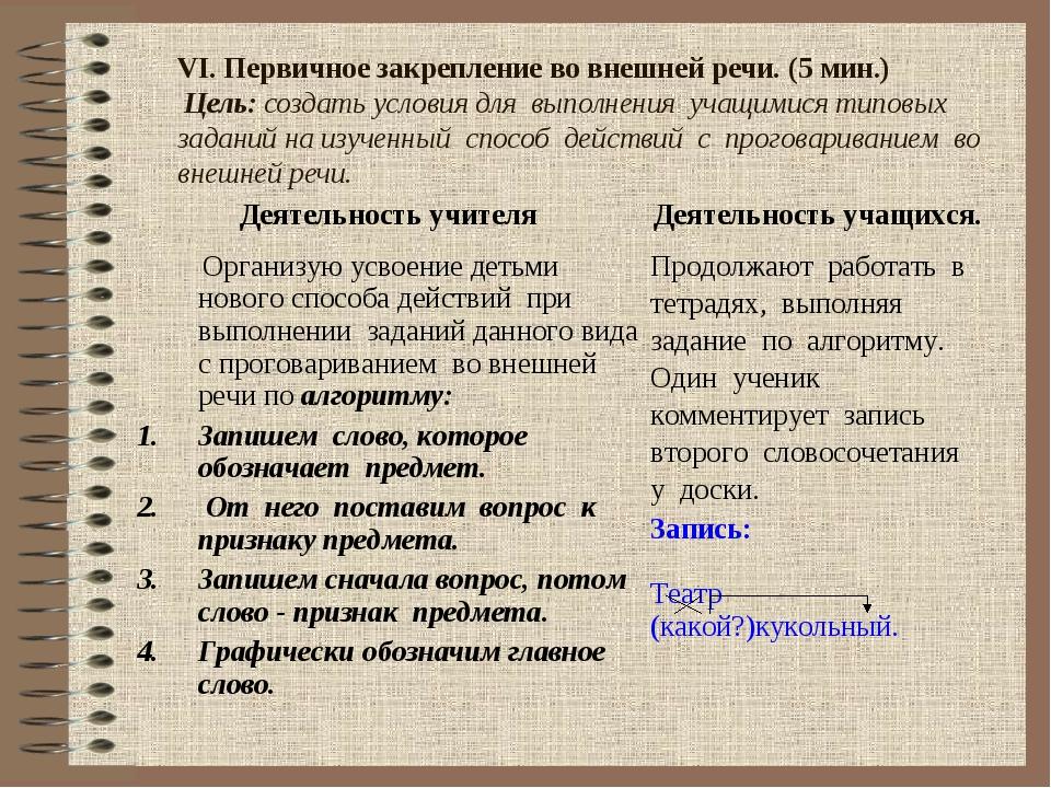 VI. Первичное закрепление во внешней речи. (5 мин.) Цель: создать условия дл...