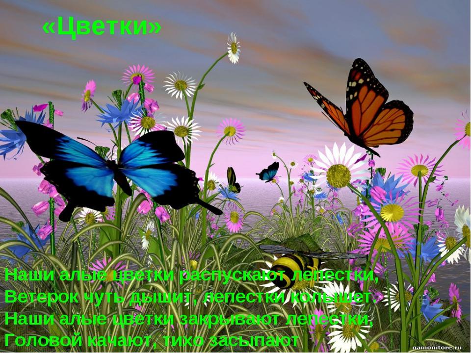«Цветки» Наши алые цветки распускают лепестки, Ветерок чуть дышит, лепестки к...