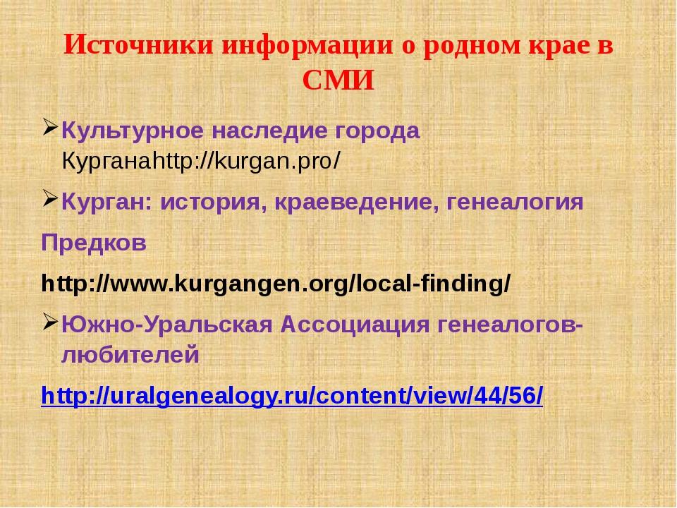 Источники информации о родном крае в СМИ Культурное наследие города Курганаht...