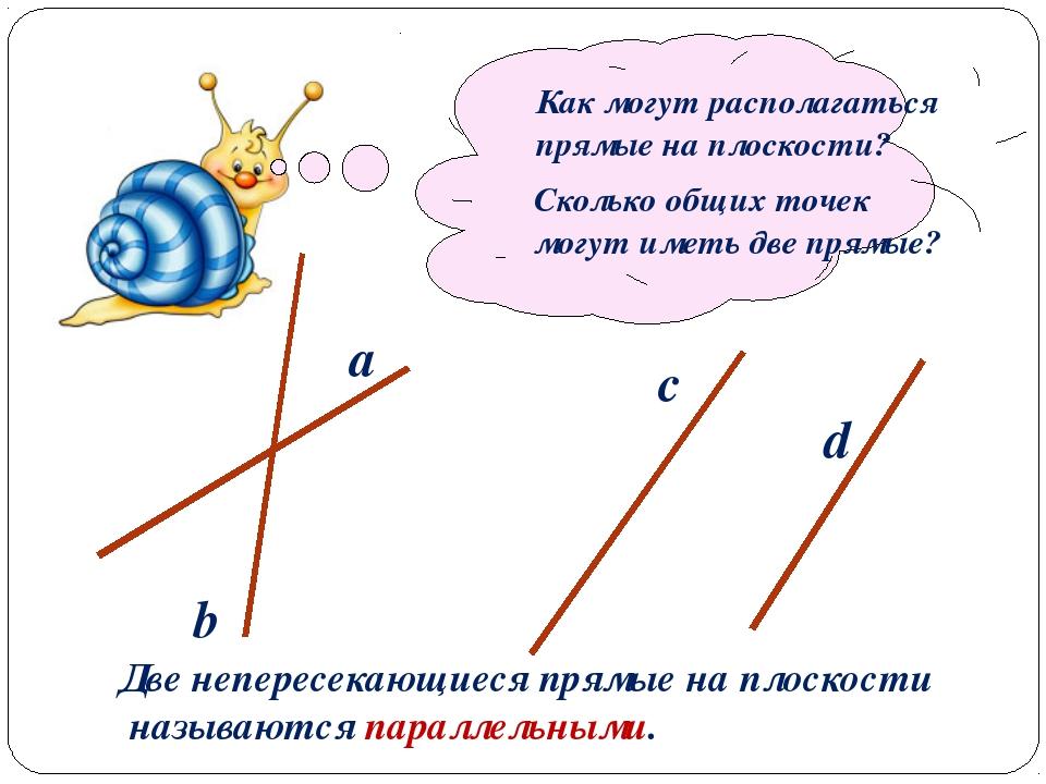 a b c d Как могут располагаться прямые на плоскости? Сколько общих точек могу...