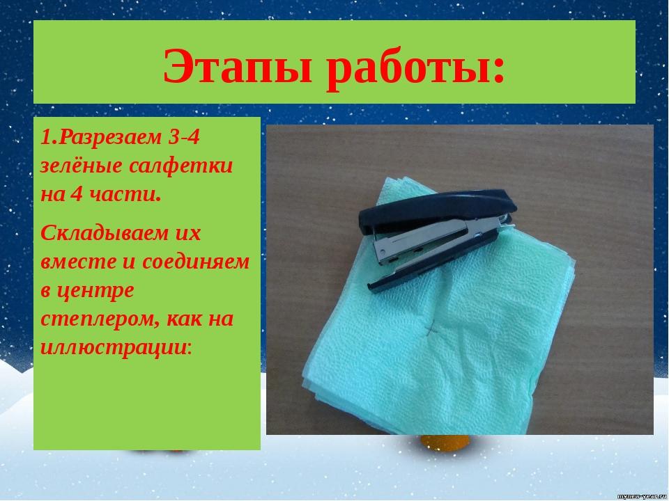 Этапы работы: 1.Разрезаем 3-4 зелёные салфетки на 4 части. Складываем их вмес...