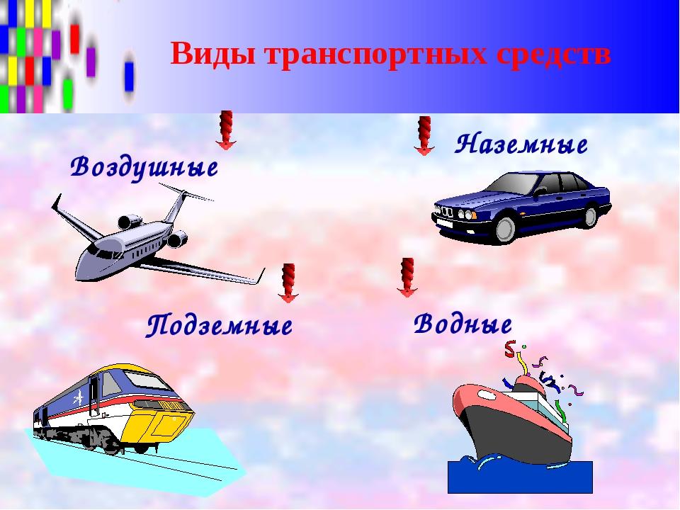 Виды транспортных средств Воздушные Наземные Подземные Водные