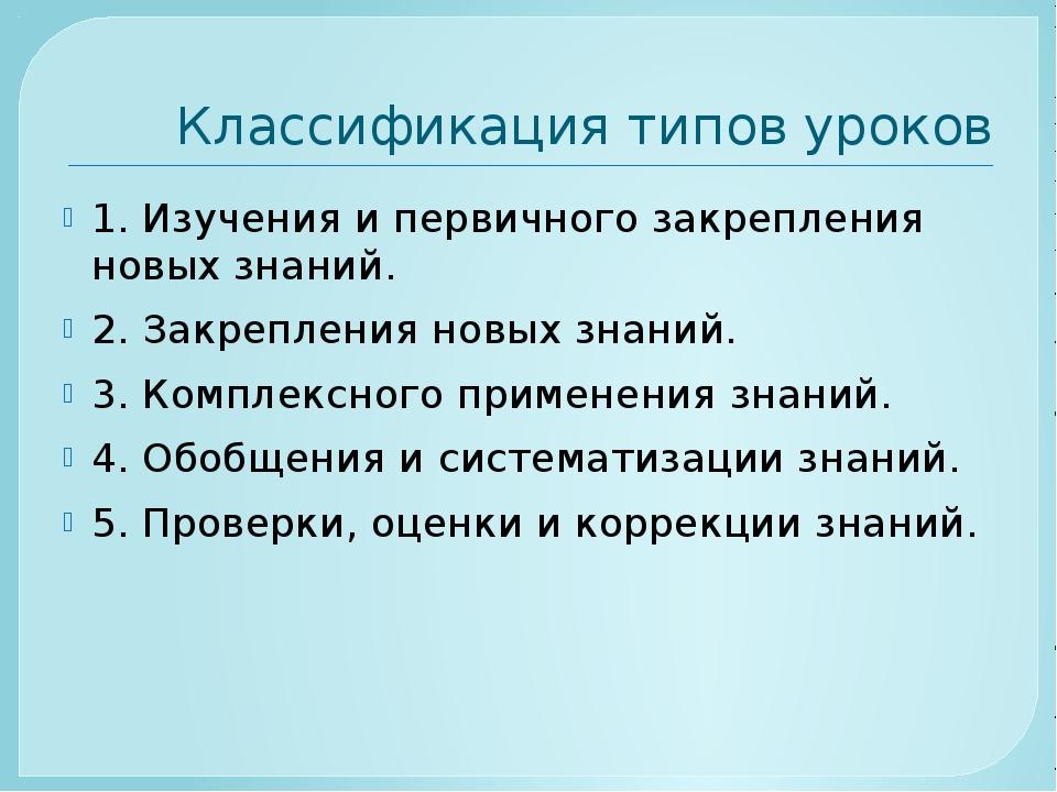 Классификация типов уроков 1. Изучения и первичного закрепления новых знаний....