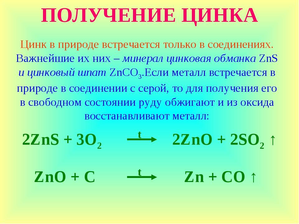 ПОЛУЧЕНИЕ ЦИНКА Цинк в природе встречается только в соединениях. Важнейшие их...