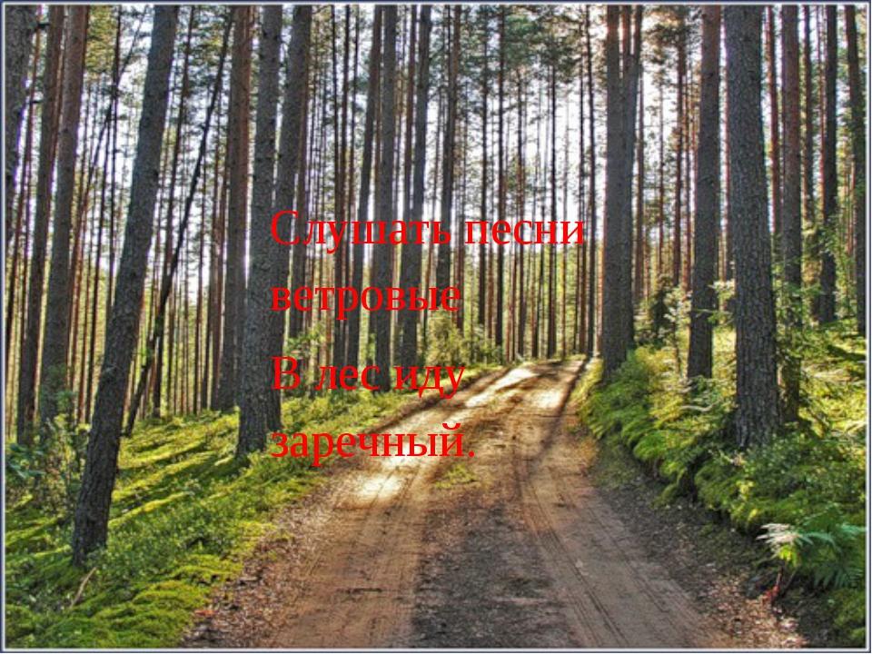 Слушать песни ветровые В лес иду заречный.