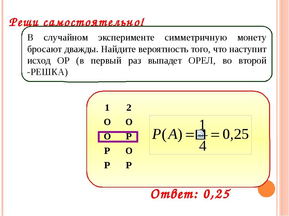 Реши самостоятельно! В случайном эксперименте симметричную монету бросают дв...
