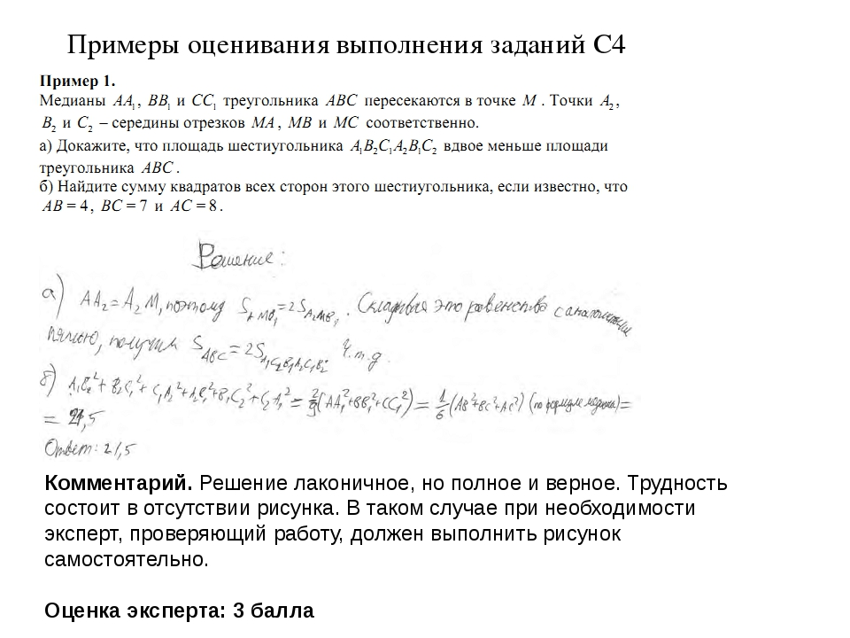 Примеры оценивания выполнения заданий С4 Комментарий. Решение лаконичное, но...