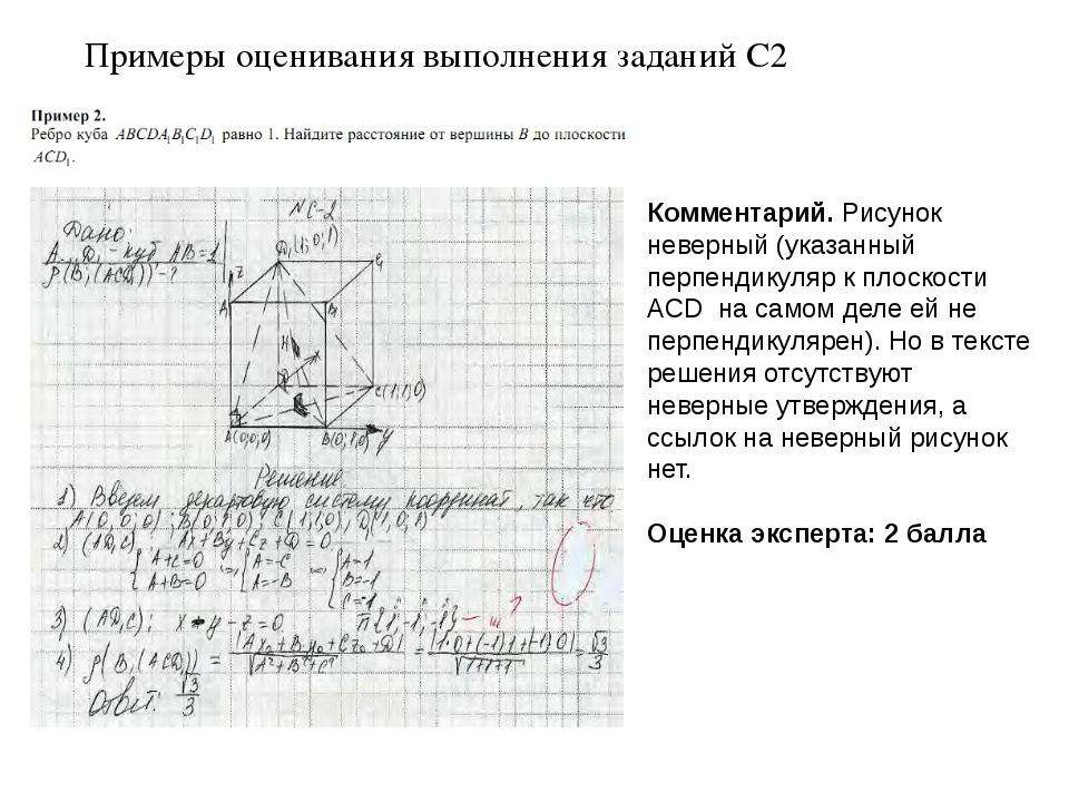 Примеры оценивания выполнения заданий С2 Комментарий. Рисунок неверный (указа...