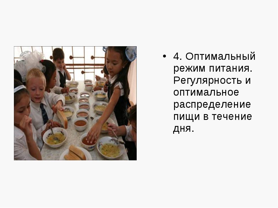 4. Оптимальный режим питания. Регулярность и оптимальное распределение пищи в...