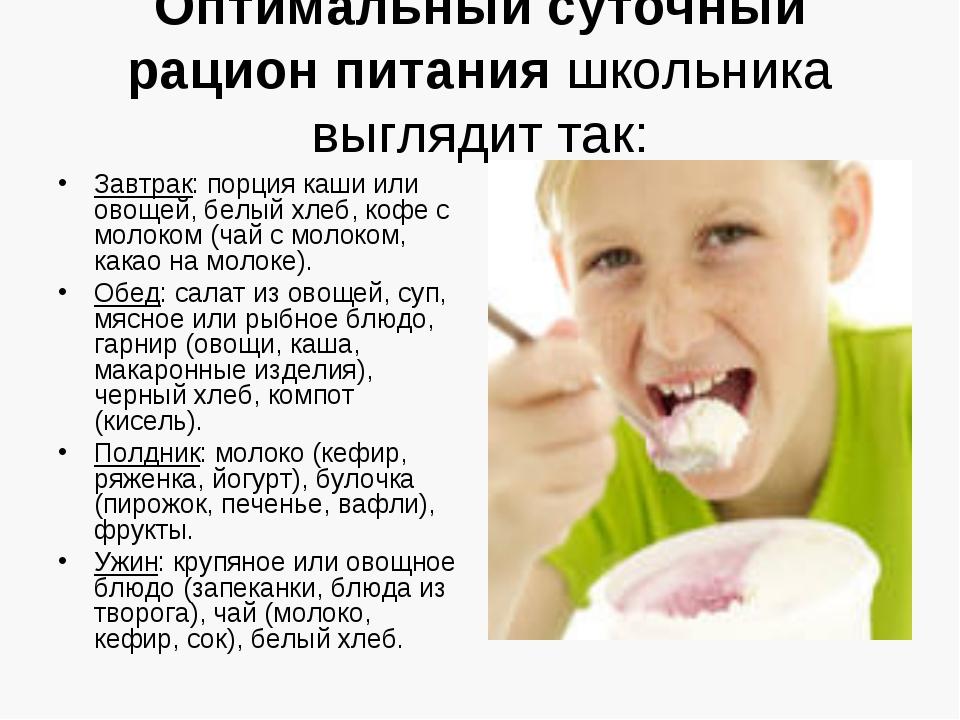 Оптимальный суточный рацион питания школьника выглядит так: Завтрак: порция к...