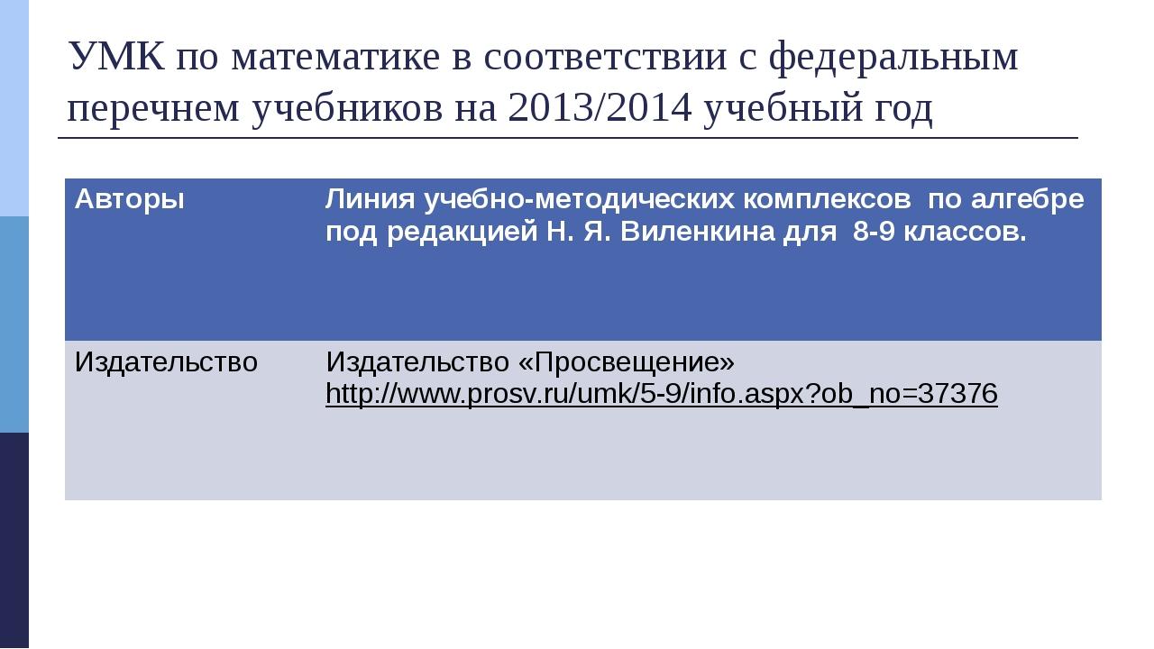 УМК по математике в соответствии с федеральным перечнем учебников на 2013/201...