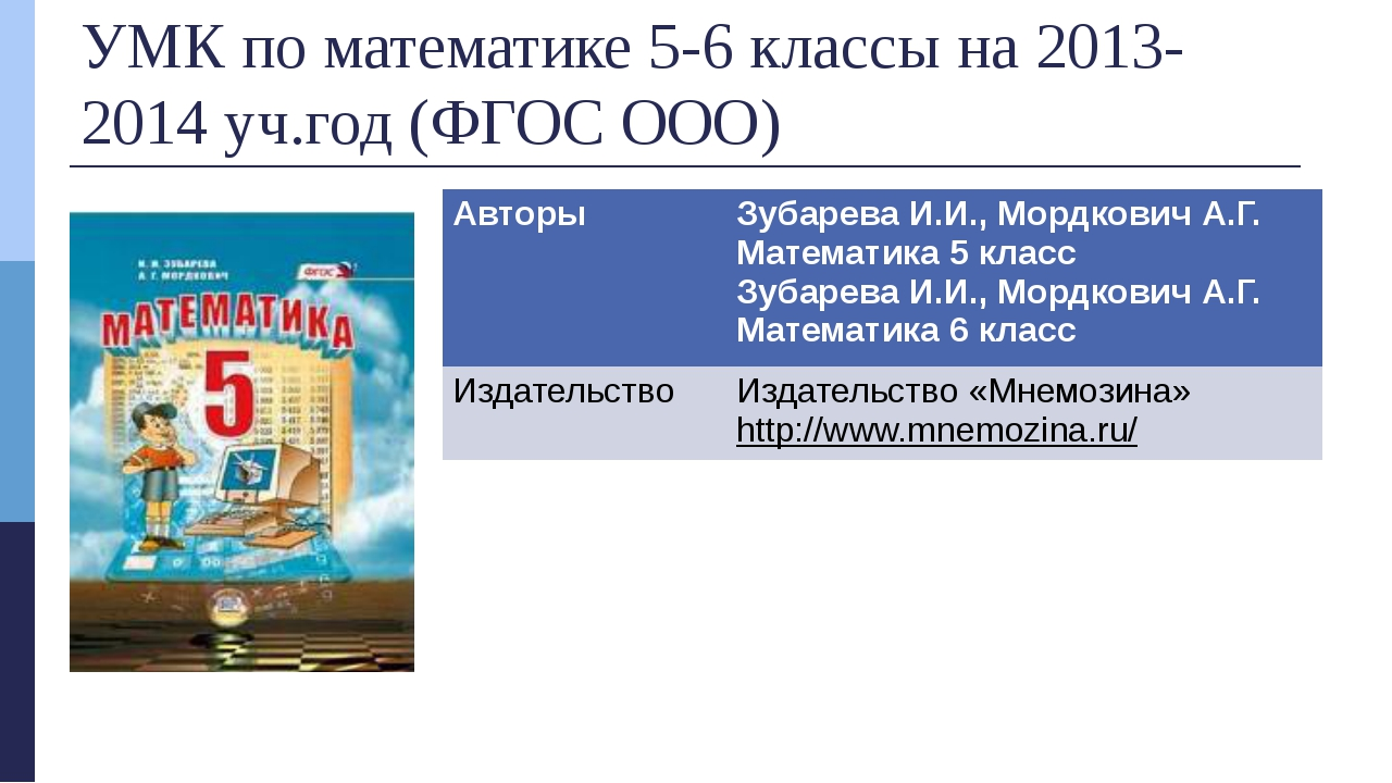 УМК по математике 5-6 классы на 2013-2014 уч.год (ФГОС ООО) Авторы Зубарева И...