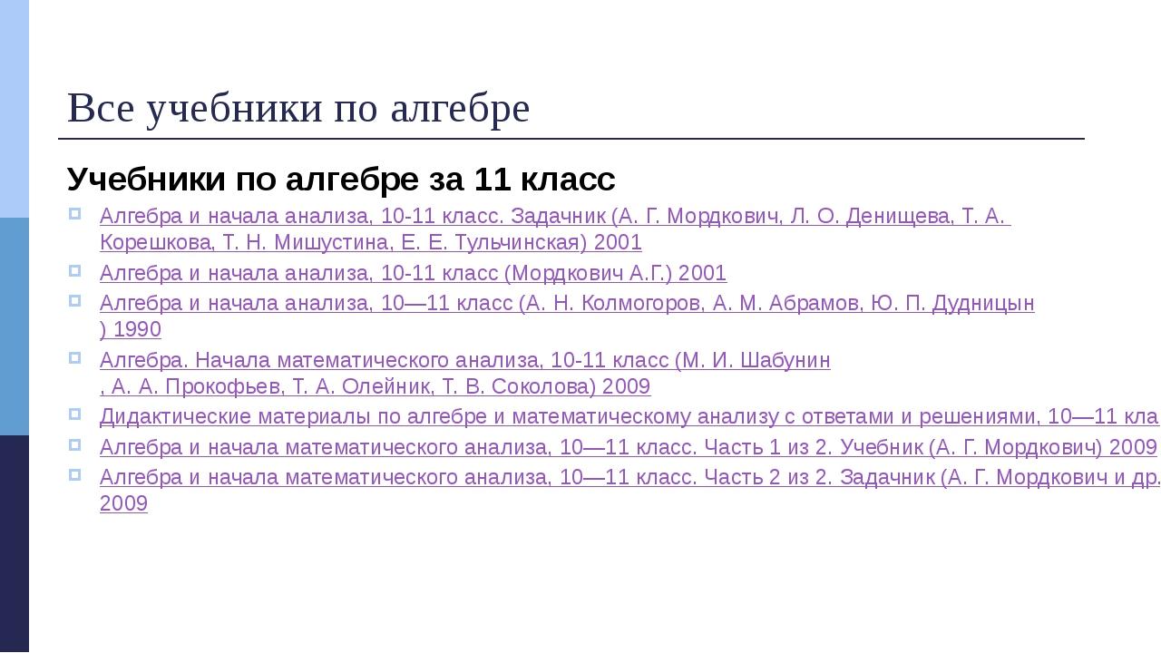 Все учебники по алгебре Учебники по алгебре за 11 класс Алгебра и начала анал...