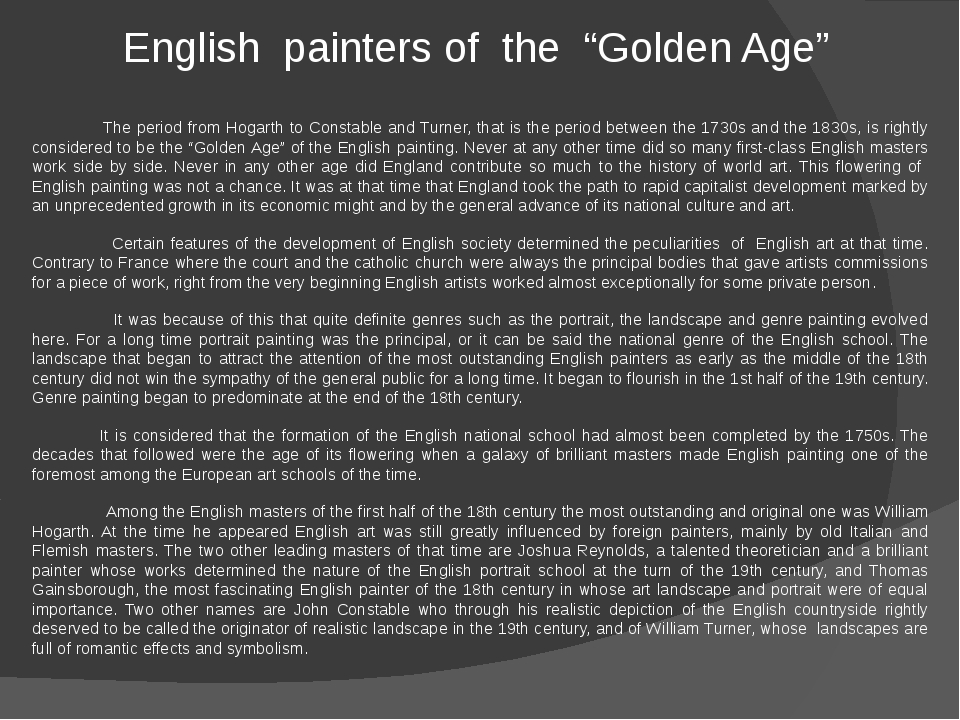 "English painters of the ""Golden Age""   The period from Hogarth to Constable..."