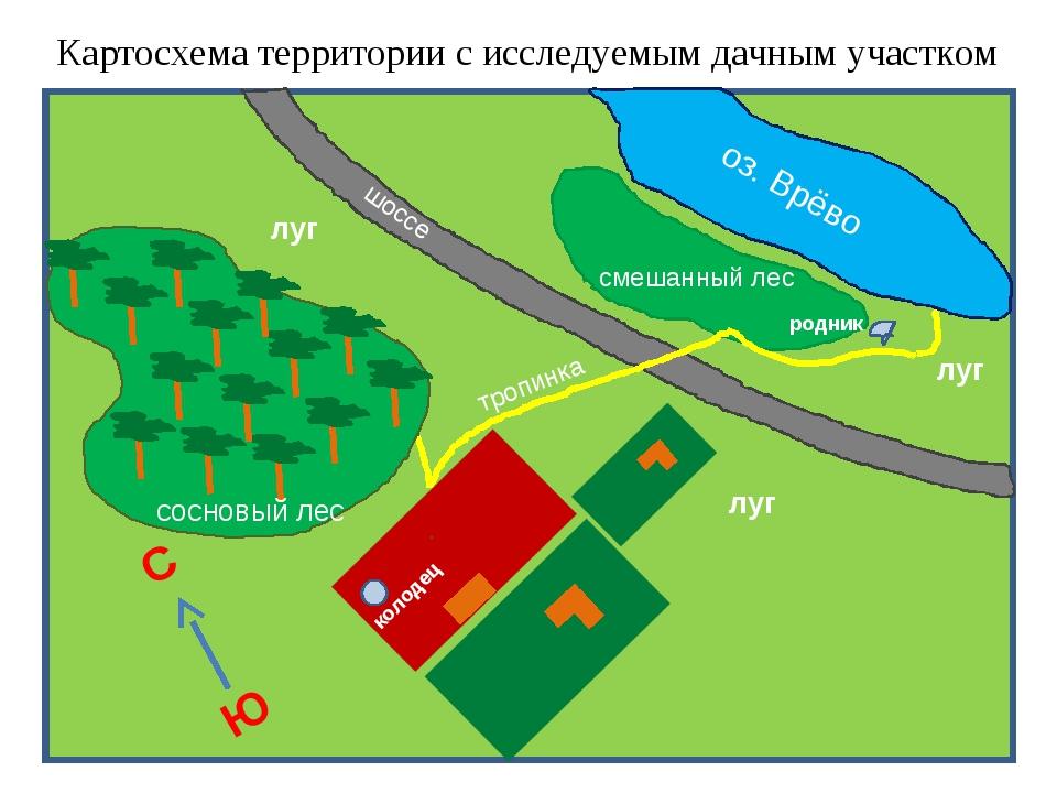Картосхема территории с исследуемым дачным участком смешанный лес колодец род...