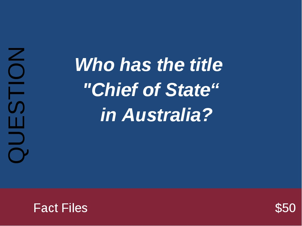 "Who has the title ""Chief of State"" in Australia? QUESTION 		Fact Files..."