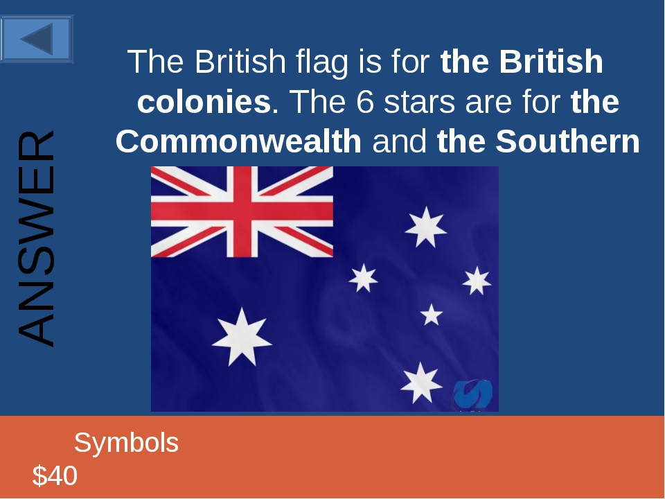 The British flag is for the British colonies. The 6 stars are for the Commonw...