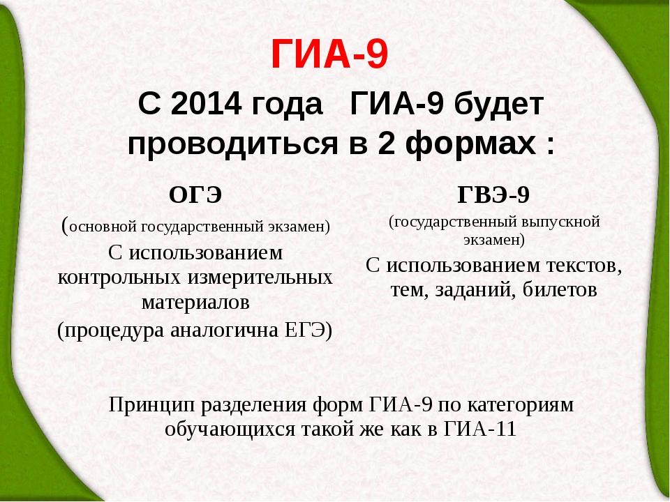 ГИА-9 С 2014 года ГИА-9 будет проводиться в 2 формах : ОГЭ (основной государс...