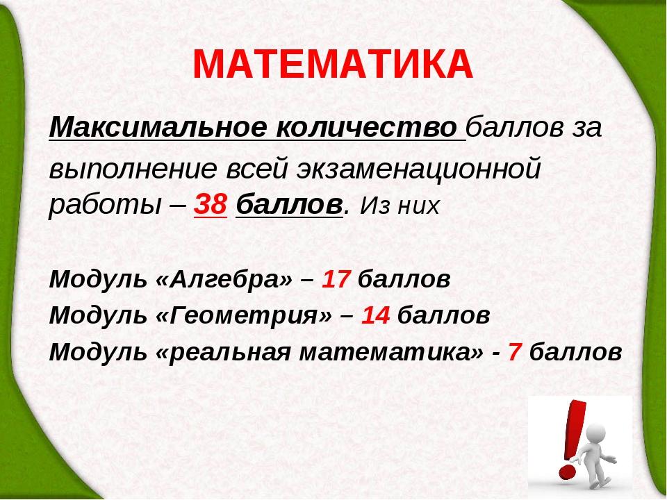 МАТЕМАТИКА Максимальное количество баллов за выполнение всей экзаменационной...