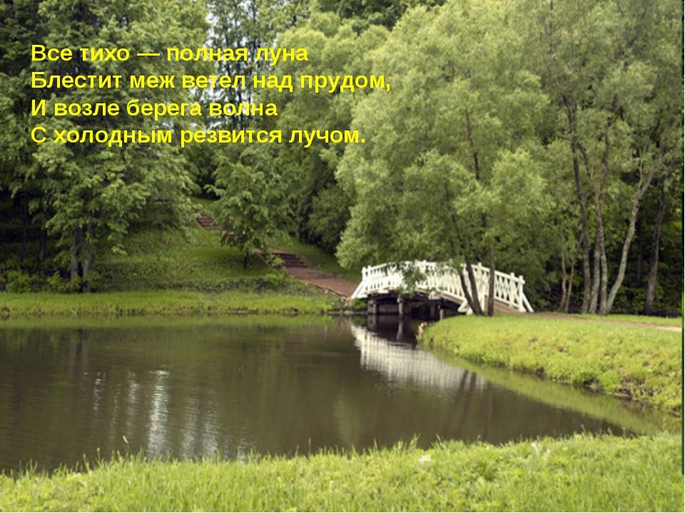 Все тихо — полная луна Блестит меж ветел над прудом, И возле берега волна С х...