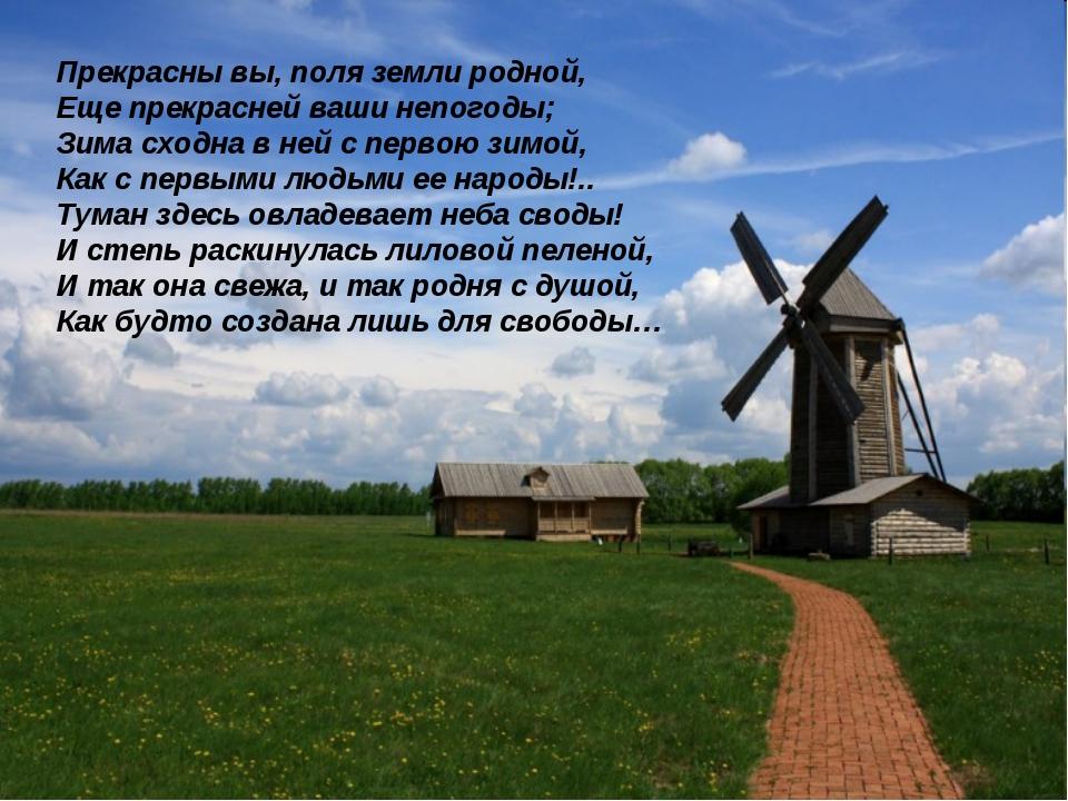 Прекрасны вы, поля земли родной, Еще прекрасней ваши непогоды; Зима сходна в...