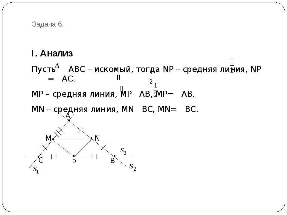 Задача 6. I. Анализ Пусть АВС – искомый, тогда NP – средняя линия, NP = AC. M...
