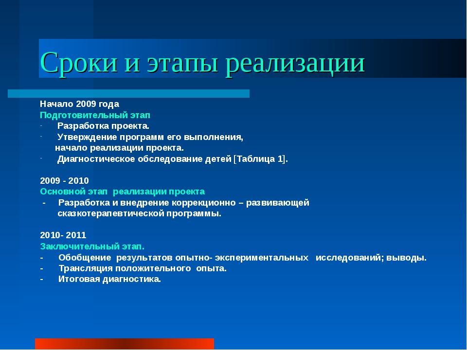 Сроки и этапы реализации Начало 2009 года  Подготовительный этап Разработка...
