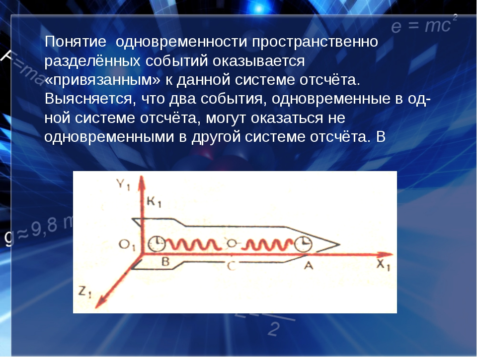 Понятие одновременности пространственно разделённых событий оказывается «прив...