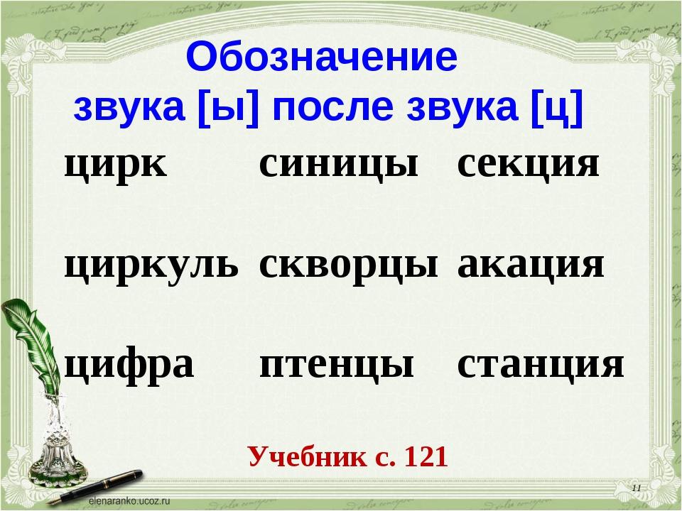 * Обозначение звука [ы] после звука [ц] Учебник с. 121 цирк циркуль цифрасин...