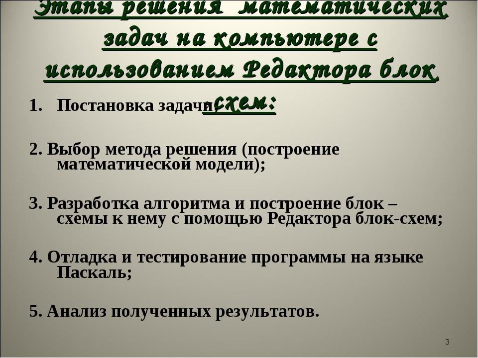 Этапы решения математических задач на компьютере с использованием Редактора б...