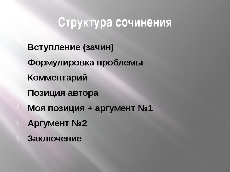 Структура сочинения Вступление (зачин) Формулировка проблемы Комментарий Пози...
