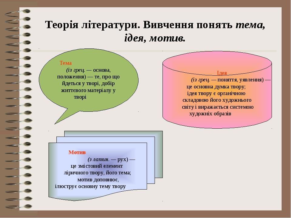 Теорія літератури. Вивчення понять тема, ідея, мотив. Тема (із грец. — осно...