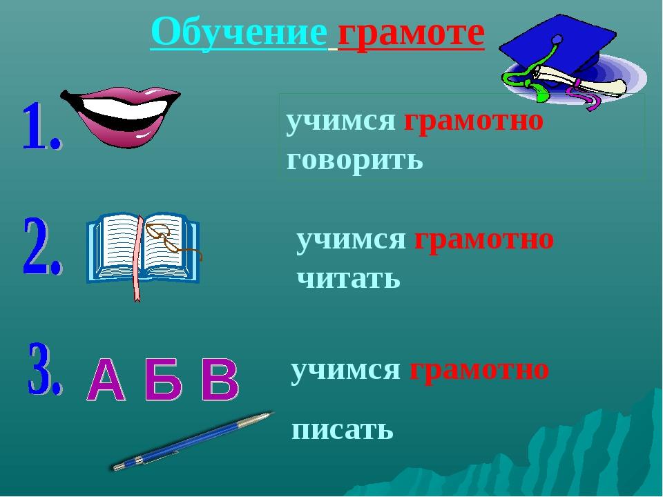 Обучение грамоте учимся грамотно говорить учимся грамотно читать учимся грамо...