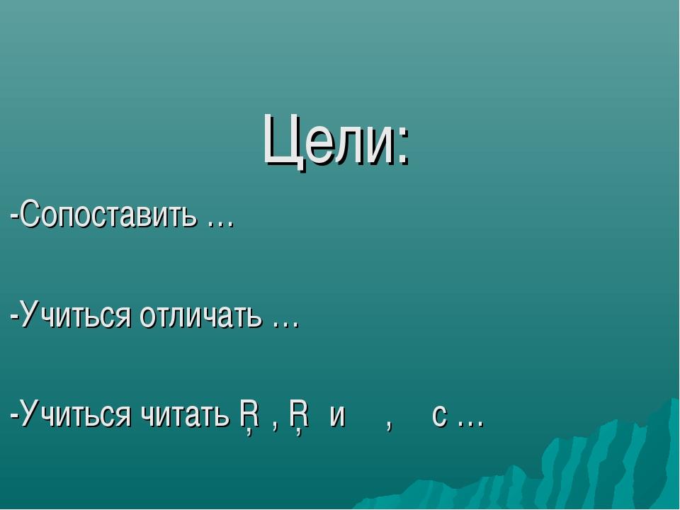 Цели: -Сопоставить … -Учиться отличать … -Учиться читать □, □ и ∟,∟ с …