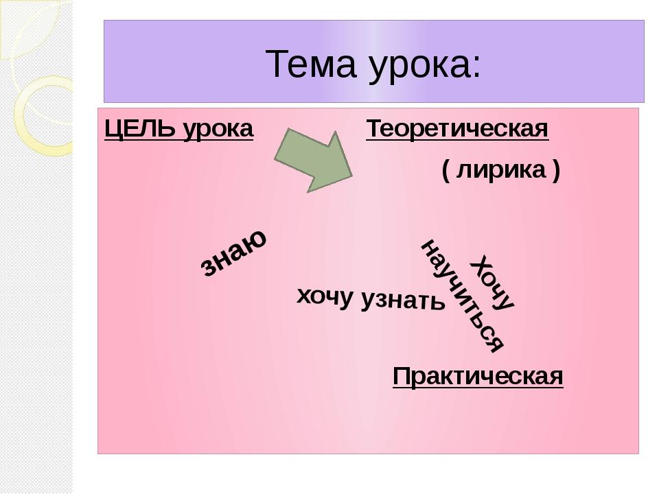 Тема урока: ЦЕЛЬ урока Теоретическая ( лирика ) Практическая знаю хочу узнать...