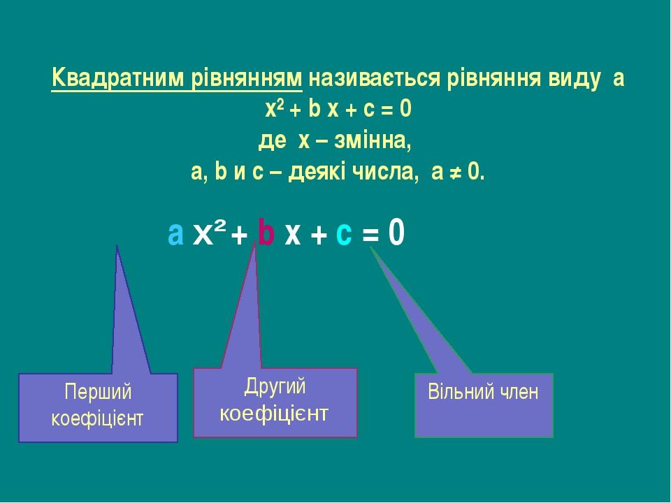 Квадратним рівнянням називається рівняння виду a x² + b x + c = 0 де х – змін...