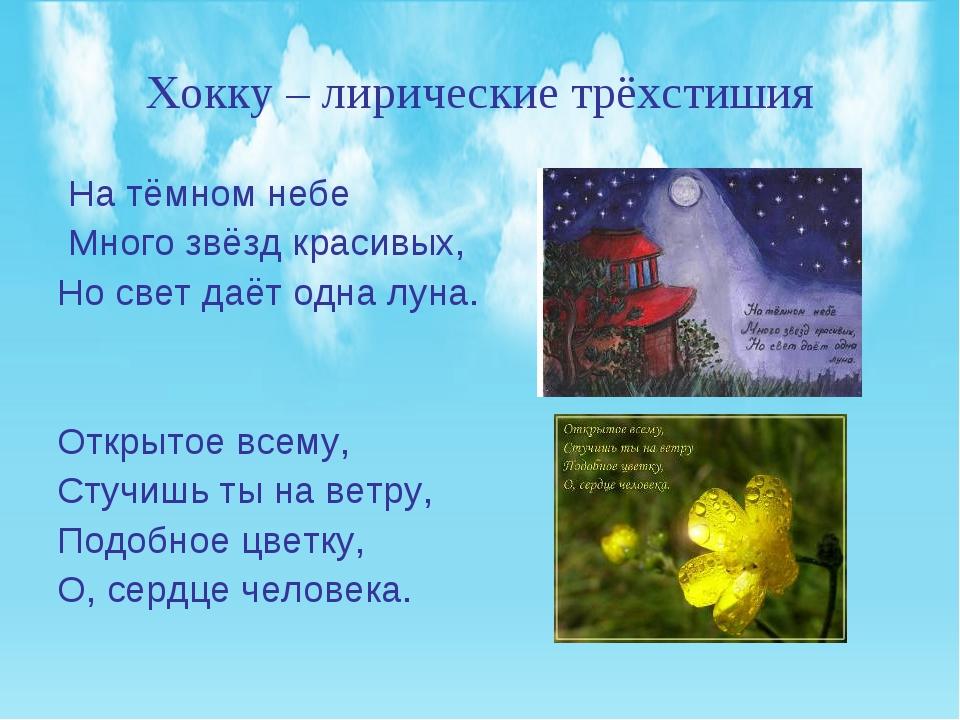 Хокку – лирические трёхстишия На тёмном небе Много звёзд красивых, Но свет да...